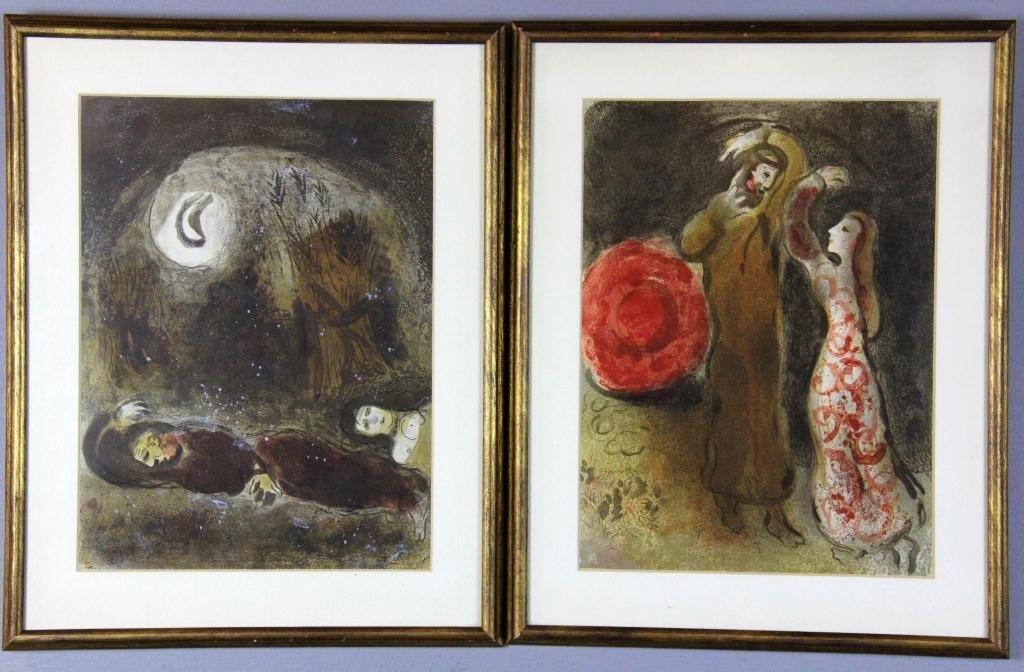 20: (2) Marc Chagall Bible Illustrations Lithographs