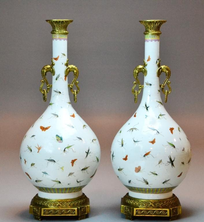 139: Pr. Chinese Porcelain Vases With Bronze Mounts