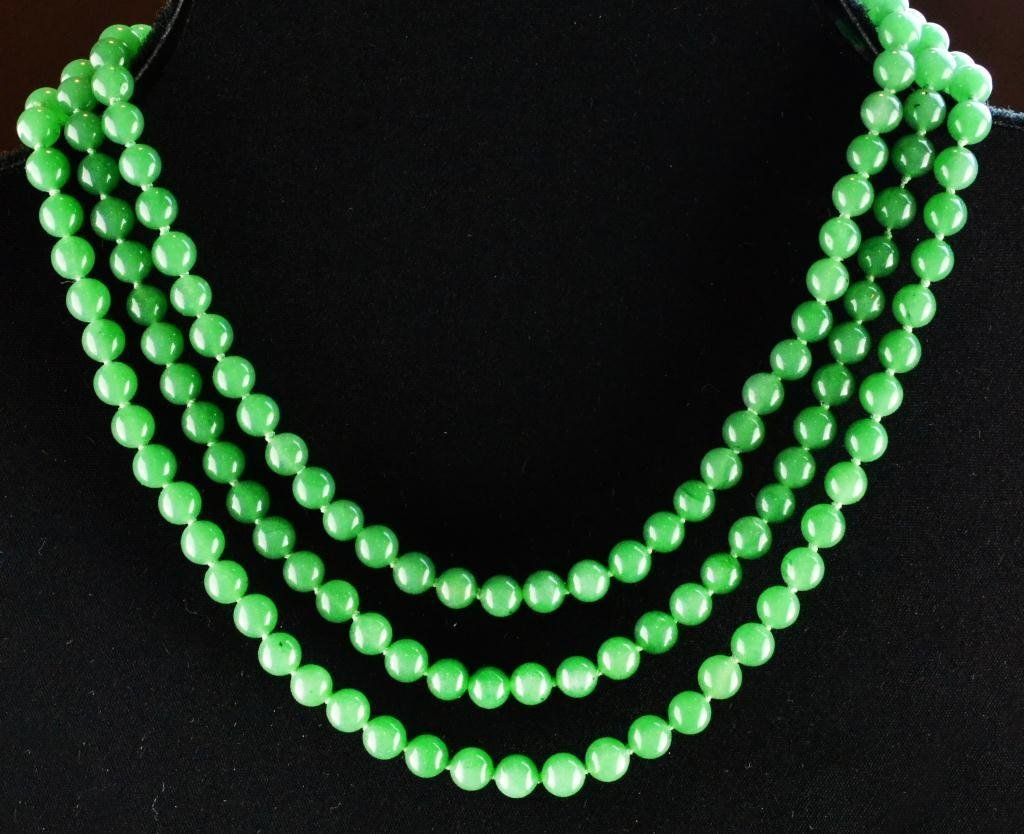 34A: Chinese Qing Jade & Silver Mounted Necklace