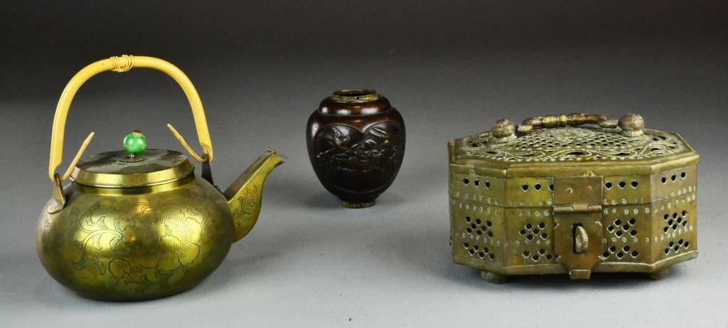 9: (3) Chinese & Japanese Brass & Bronze Items