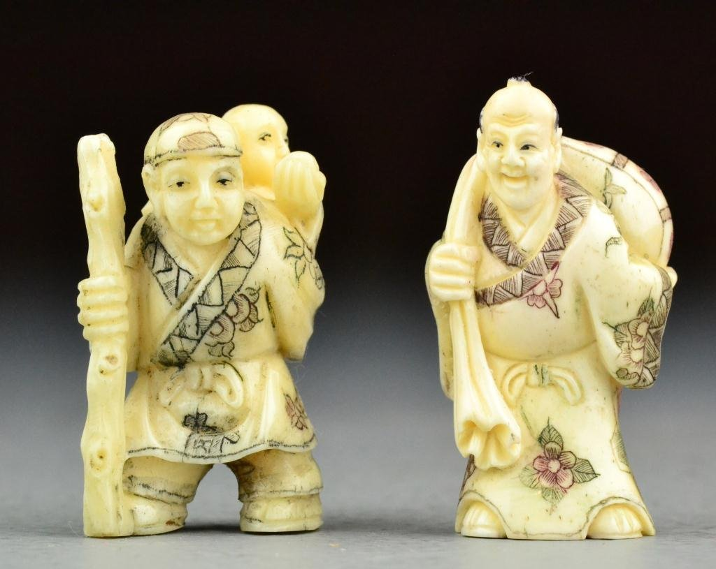 12: (2) Japanese Meji Period Carved Ivory Netsuke