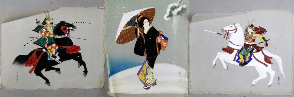16: (3) Japanese Meiji Woodblock Prints On Silk