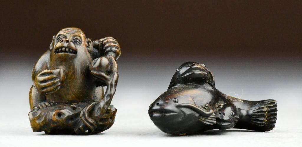 18: (2) Japanese Meji Period Carved Wood Netsuke