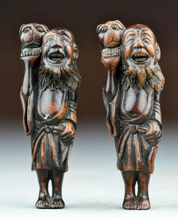 19: (2) Japanese Meji Period Carved Rosewood Netsuke