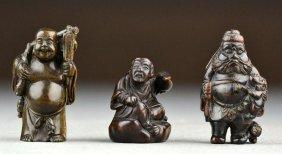(3) Japanese Meji Period Carved Wood Netsuke