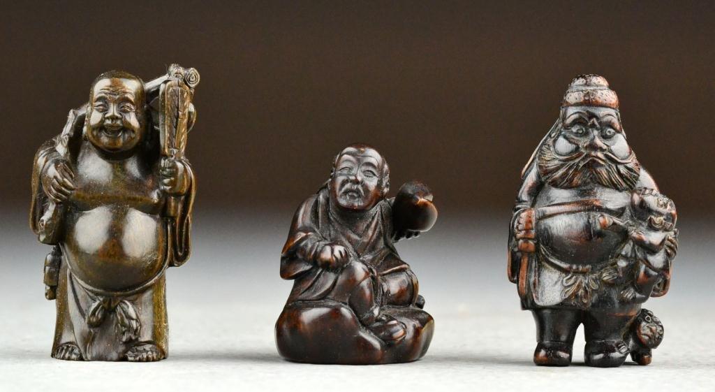 23: (3) Japanese Meji Period Carved Wood Netsuke
