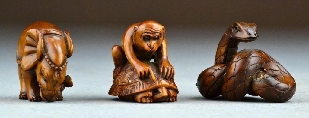 24: (3) Japanese Meji Period Carved Wood Netsuke