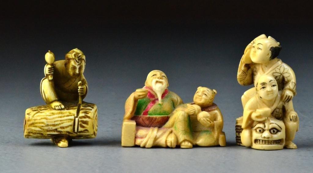 25: (3) Japanese Carved Ivory Netsuke