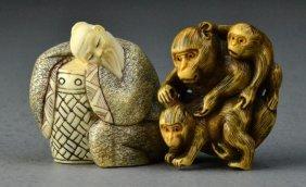 (2) Japanese Carved Ivory Netsuke