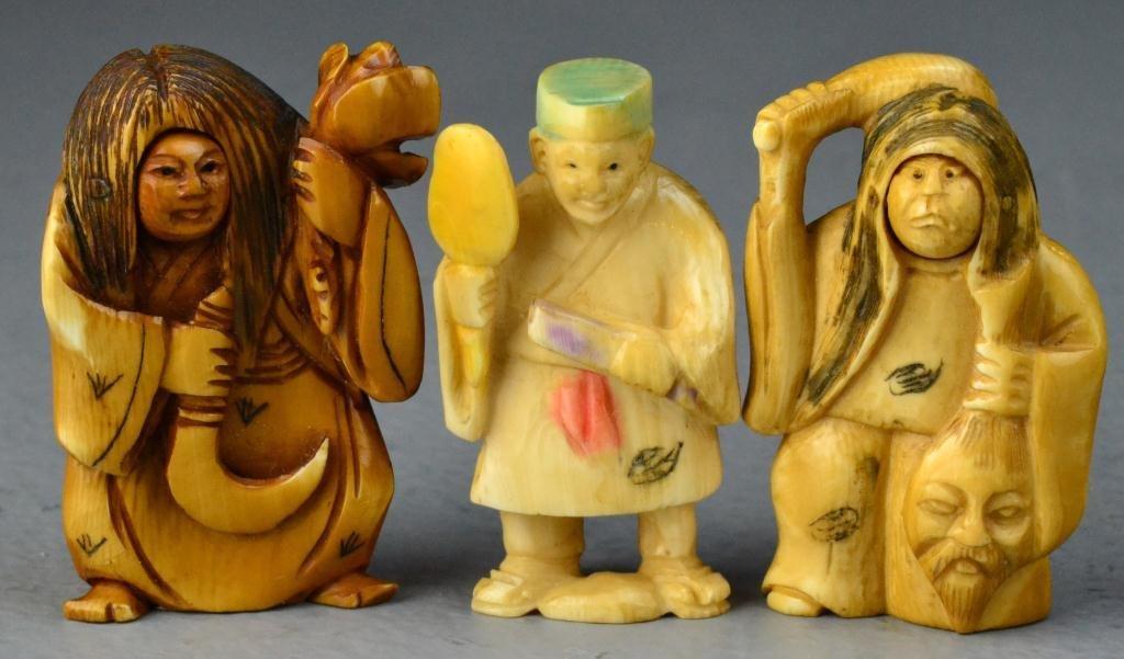 27: (3) Japanese Carved Ivory Netsuke