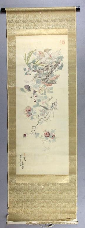 33: Japanese Meiji Period Scroll Painting On Silk