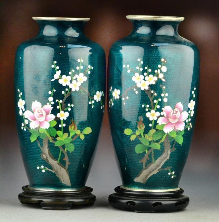 35: Pr. Japanese Cloisonné Vases On Stands