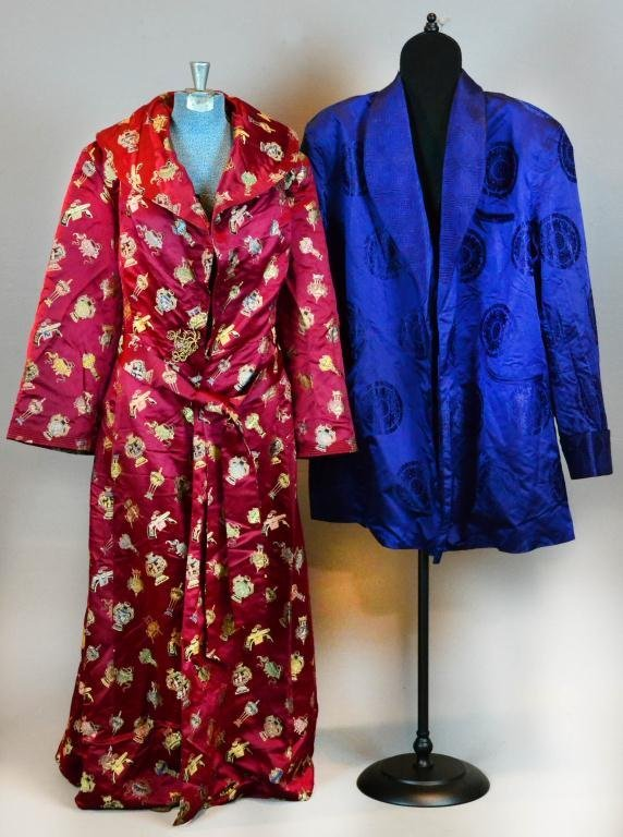 38: (2) Japanese Silk Kimono And Short Robe