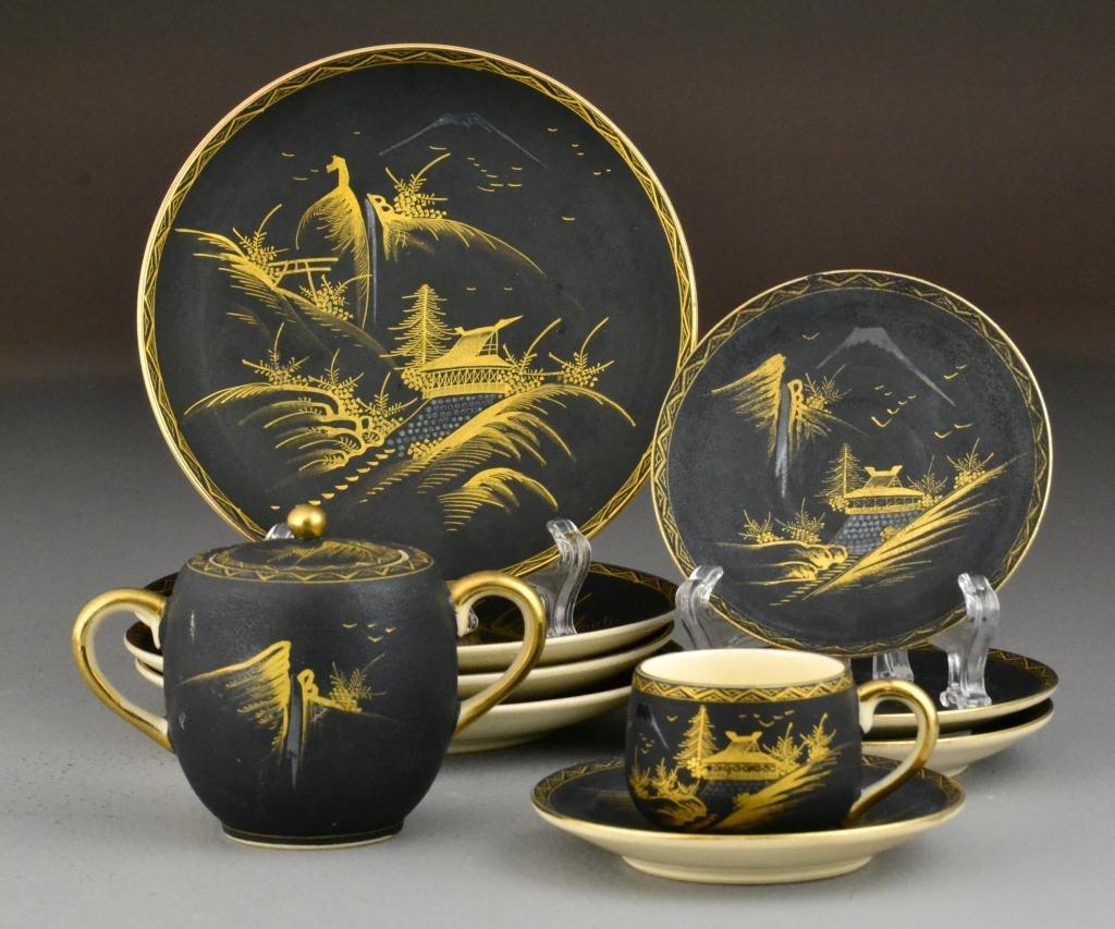 43: (10) Pcs. Japanese Black Satsuma Porcelain-Meiji Pe