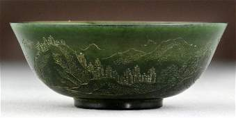 260: Chinese Qing Carved Jade Bowl