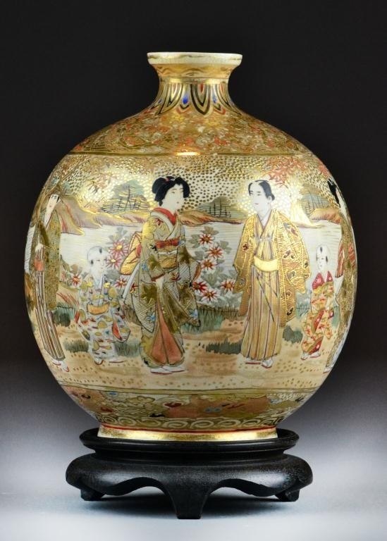 10A: Japanese Satsuma Bulbous Vase with Stand
