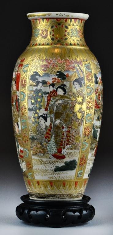 17A: Japanese Mieji Satsuma Vase with Stand