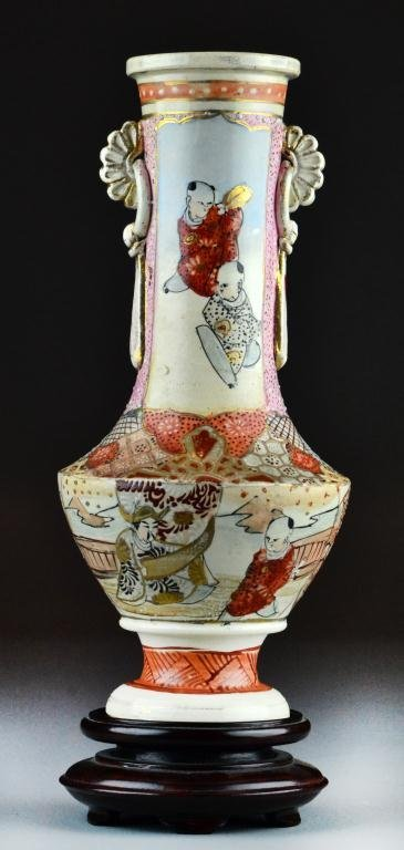 35A: Japanese Satsuma Vase with Stand
