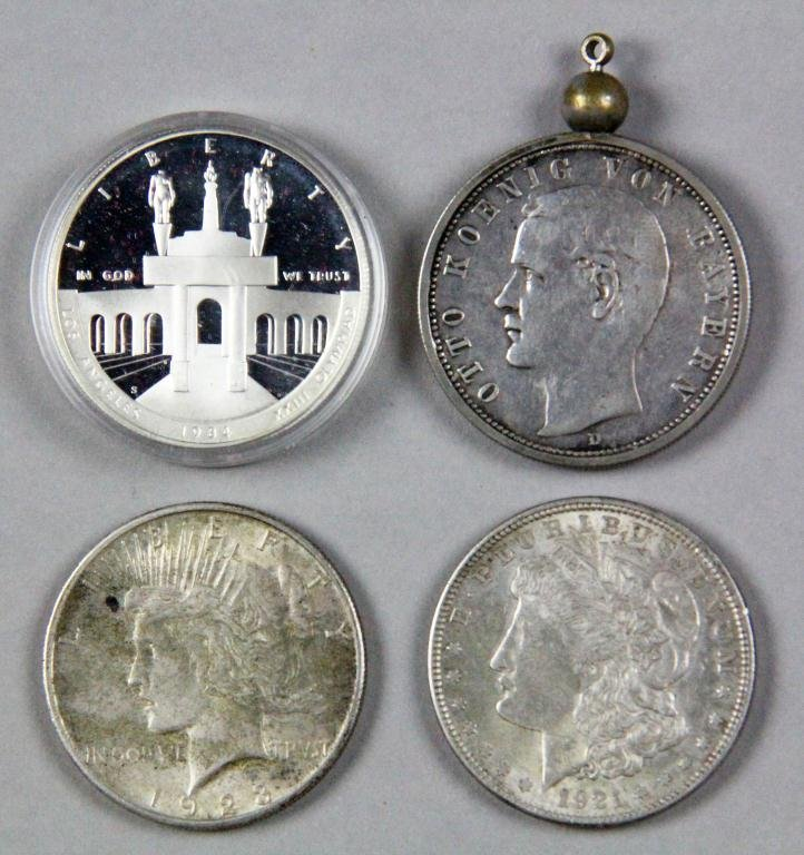 5: (4) Silver Coins 3 Silver Dollars, 1 German Mark
