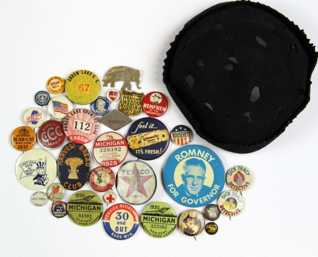 8: (94) Various Early 20th Century  Pins & Cap