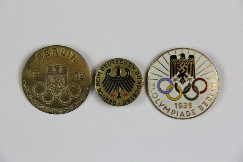 11: (3) Two 1936 Olympic Pins & One Budenstag Pin