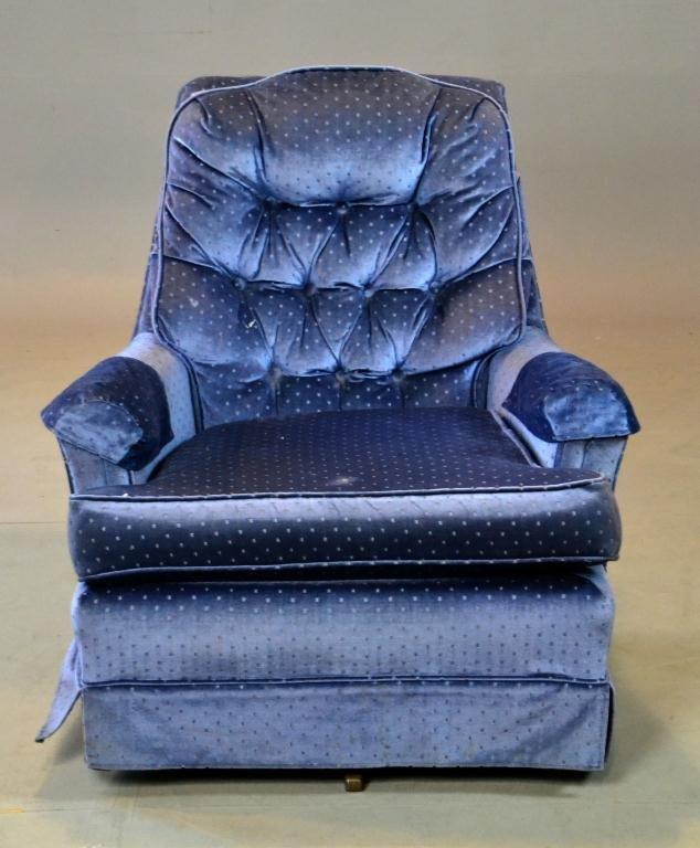 8: Blue Velvet Rocking Side Chair