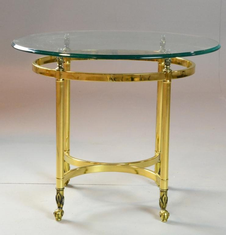 9: Mid Century Oval Brass & Glass Top End Table