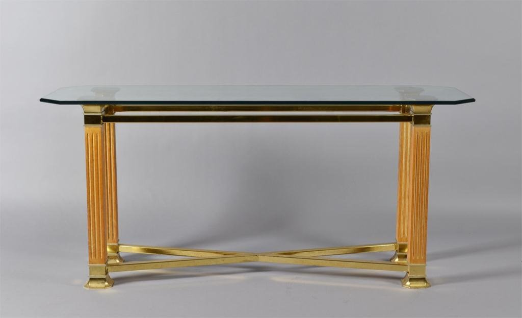 10: A Brass, Glass and Wood Hall Table