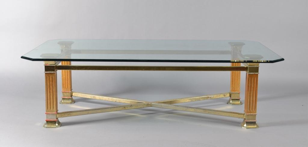 12: A Brass, Glass and Wood Coffee Table