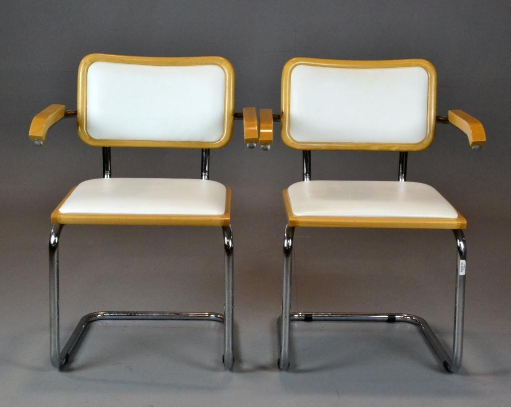 13: Pr. Of  Italian Chrome & Wood Kitchen Chairs