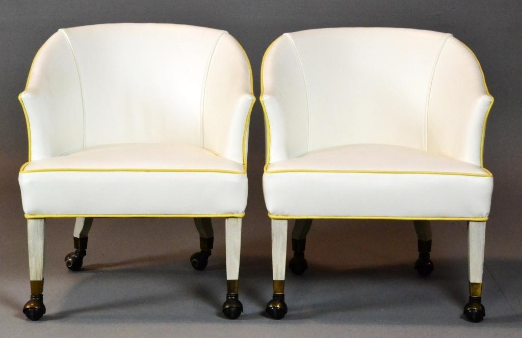 15: Pr. Mid Century Hollywood Regency Arm Chairs