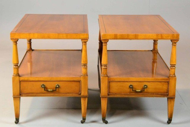 16: (2) PECAN SIDE TABLES WITH ONE DRAWER