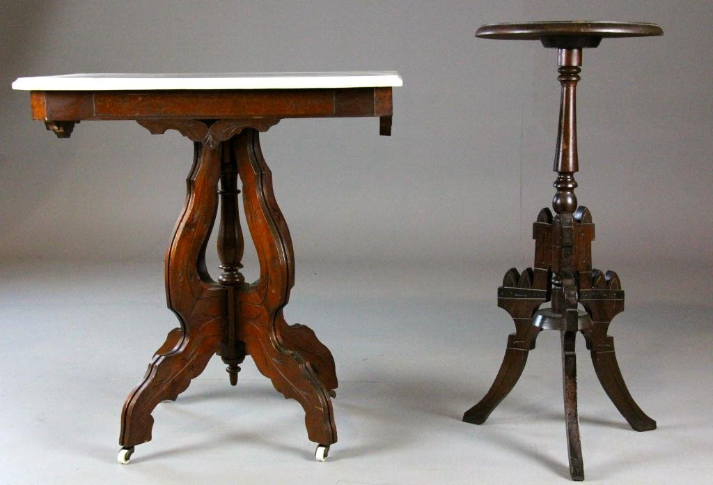 19: (2) American Eastlake Hall Table and Plant Stand