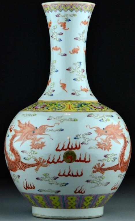 359: Chinese Famille Rose Dragon Vase