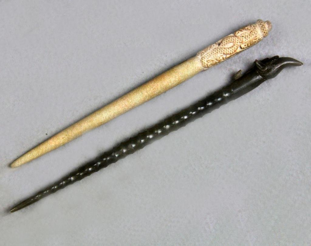 12: (2) Chinese Carved Hair Pins