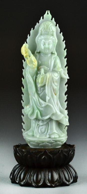 15: Chinese Carved Celedon Jade Kwan Yin