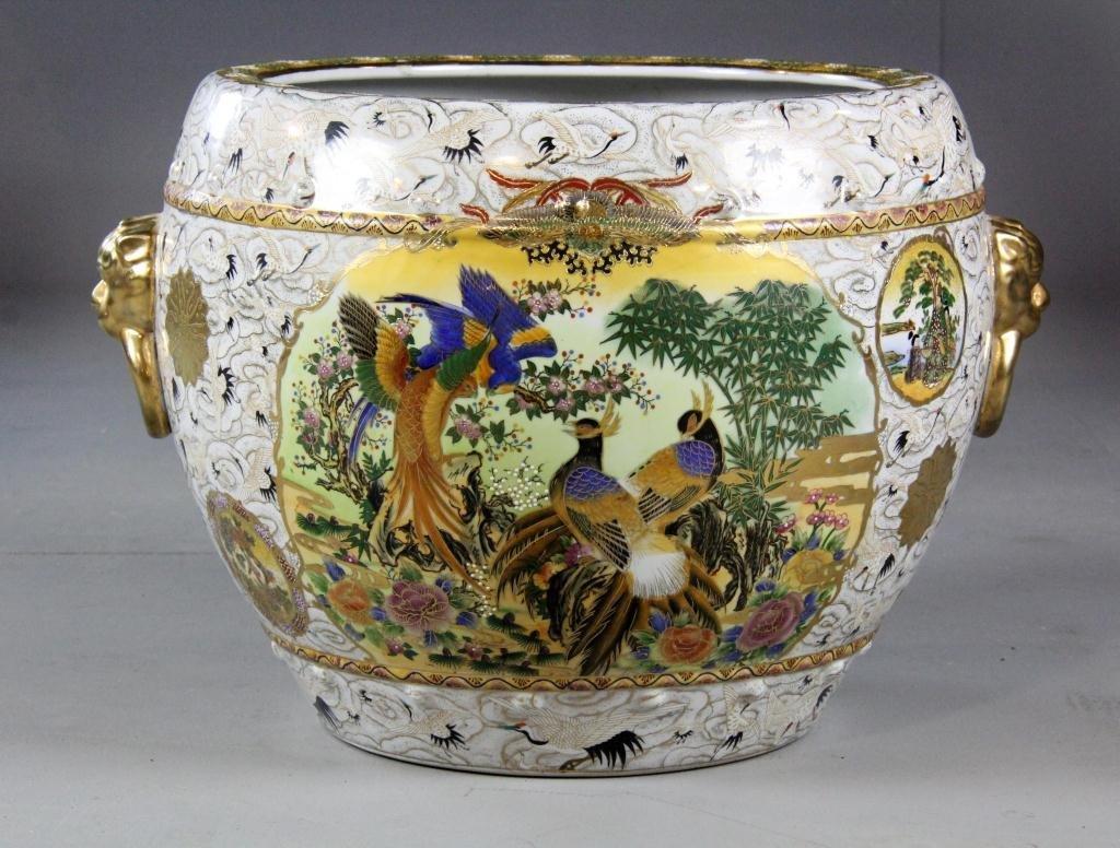 21: Large Chinese Famille Rose Porcelain Fish Bowl