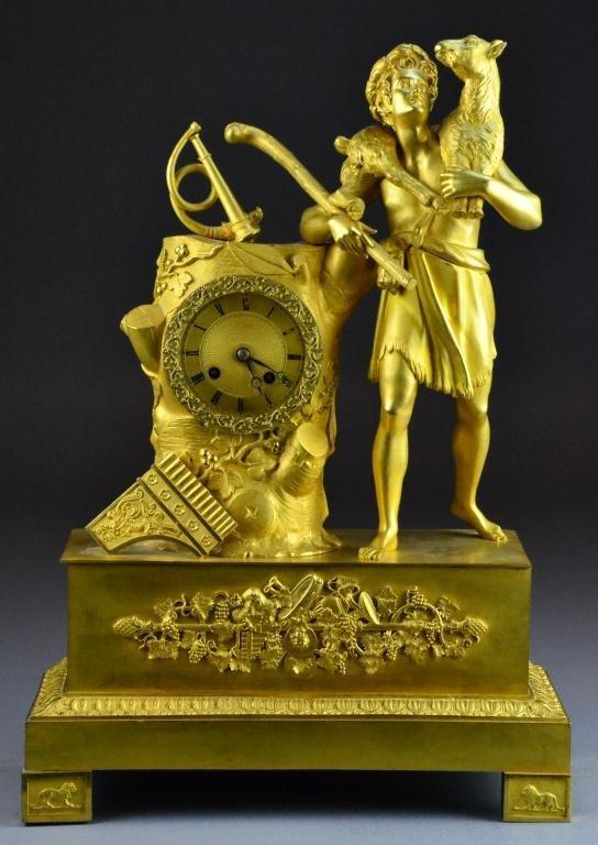 101: French Empire Gilt Bronze Figural Mantle Clock