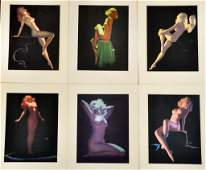 230: (6) Earl S. Moran Female Nude Pin-Up Lithographs