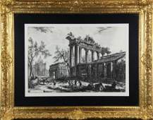 283 Antique Engraving by Cavlier Piranesi of Ruins