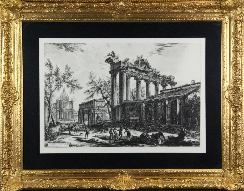 283: Antique Engraving by Cavlier Piranesi of Ruins