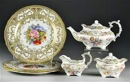 509 7 Pcs Dresden Teaset  Aynsley Gilt Plates
