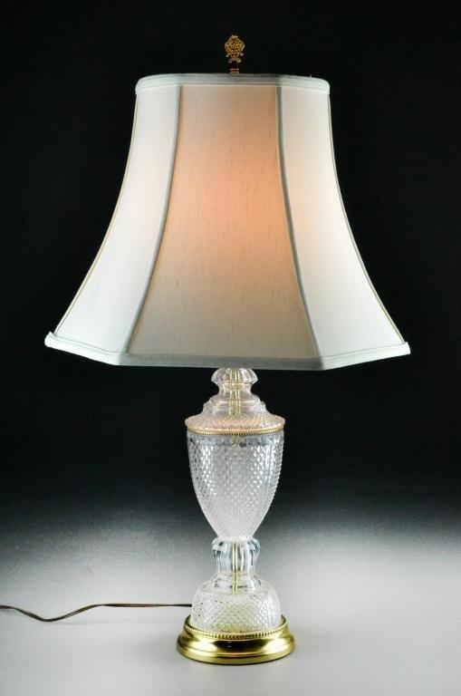 624: Cut Crystal Table Lamp with Custom Silk Shade