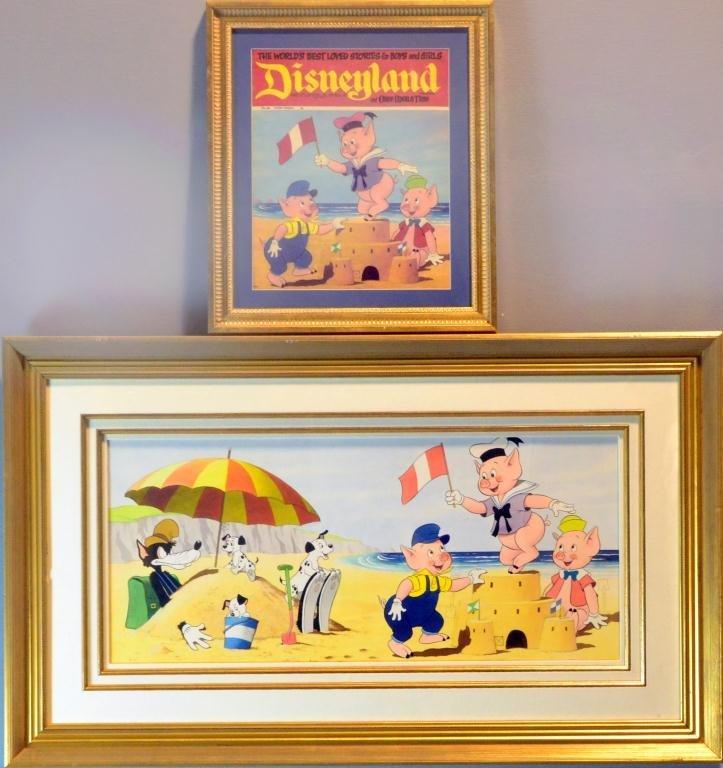 635: (2) Disney Original Color & Ink  & Magazine Cover