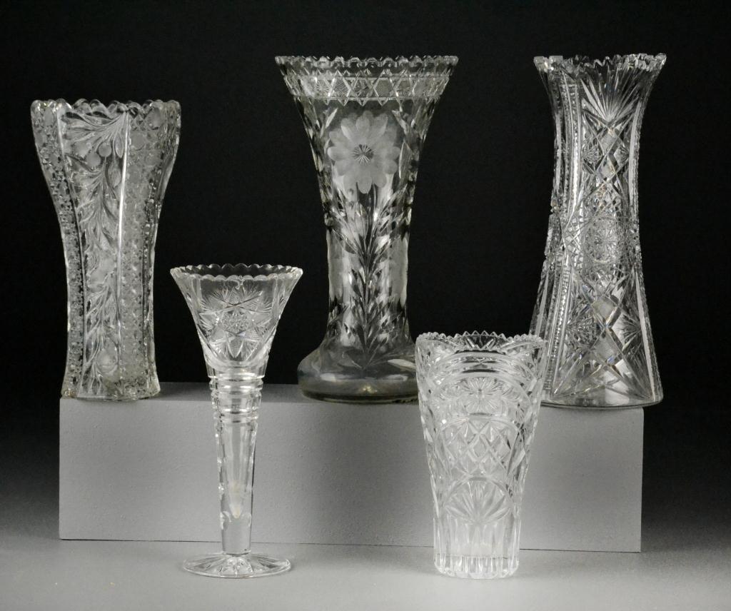 643: (5) Cut Glass Vases