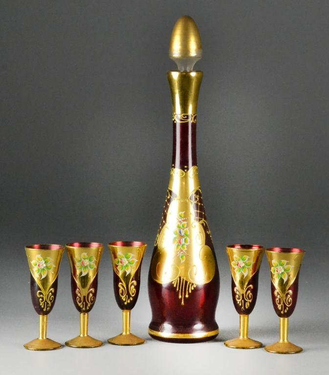 644: (6) Piece Mosher-style Red Glass Sherry Set