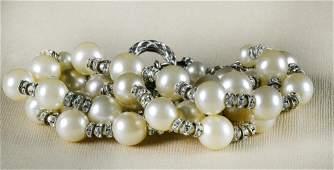 768: Chanel Vintage Faux Pearl & Rhinestone Bracelet