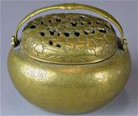 910 Chinese Qing Bronze Censer and Cover