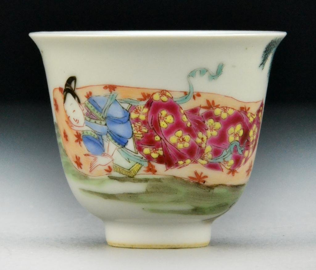 1: Chinese Famille Rose Porcelain Tea Cup
