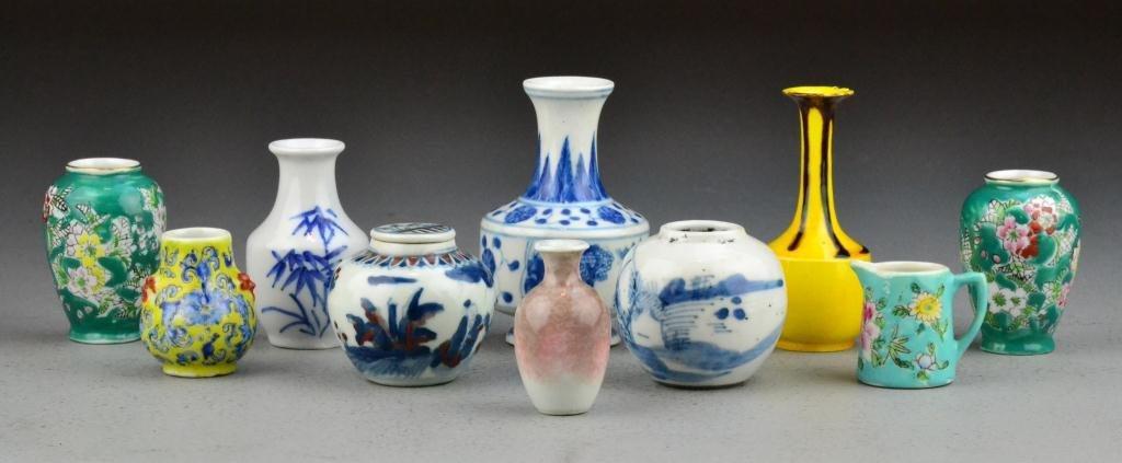 7: (10) Pcs. Chinese Miniature Porcelain Vases & Jars